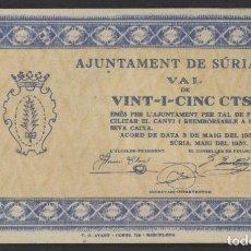Billetes locales: J.B. BILLETE DE SURIA , 25 CENTIMOS , 2ª EMISIÓN , MONTANER: 1392 A , TURRÓ: 2421 B. Lote 205512442
