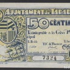 Billetes locales: J.B. BILLETE DE TARADELL , 50 CENTIMOS , 2ª EMISIÓN , MONTANER: 1401 D , TURRÓ: 2433. Lote 205512786