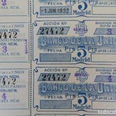 Billetes locales: BANCO DE LA UNIÓN 5 PTS. / SIN LOTERÍA - 5 CUPONES DIVIDENDO PASIVO ACCIÓN NÚM. 27472 / AÑO: 1932. Lote 205727297