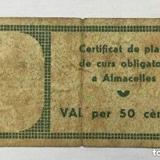 Billetes locales: BILLETE CONSELL MUNICIPAL ALMACELLES - VALE DE 50 CENTIMOS 1937 SERIE A N°01601 - MBC/MBC+. Lote 205774578