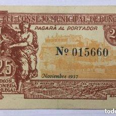 Billetes locales: BILLETE DE EL CONSEJO MUNICIPAL DE BUÑOL 25 CENTIMOS 1937 - EBC-. Lote 205774790