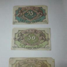 Billetes locales: 3 BILLETE LOCAL VILLARROBLEDO ALBACETE 25 50 CÉNTIMOS CTS 1 PESETA 20 SEPTIEMBRE 1937 GUERRA CIVIL. Lote 205829852