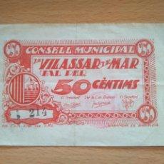 Billetes locales: BILLETE 50 CÉNTIMS DE VILASSAR DE MAR. MARESME. GUERRA CIVIL. 1937. NUMERACIÓN BAJA. VER FOTOS. Lote 205834318