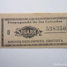 Billetes locales: VALE CALZADOS SEGARRA VALL DE UXO CASTELLON - ABONO LIMPIEZA GRATUITA. Lote 206231097