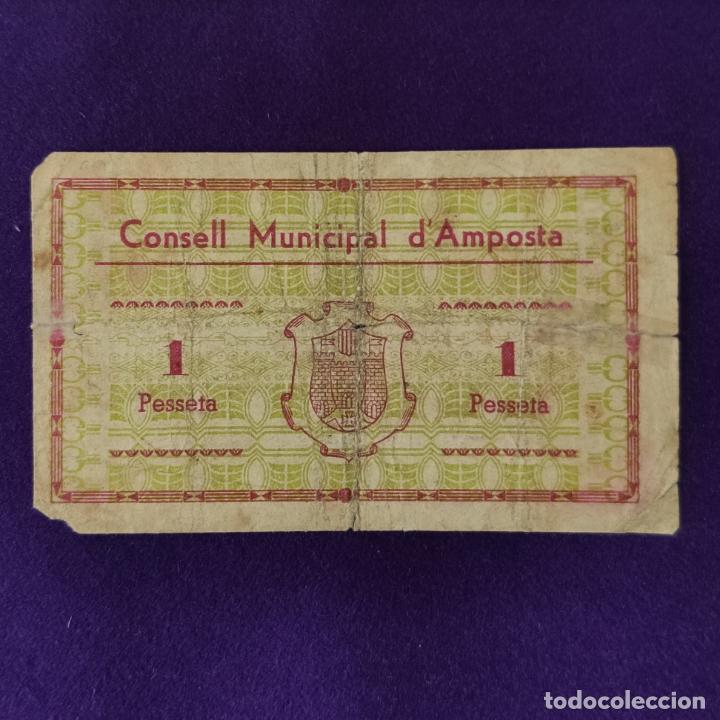 Billetes locales: BILLETE LOCAL ORIGINAL DE EPOCA. AMPOSTA (TARRAGONA). 1 PESETA. JUNIO 1937. 2ªEDICION. GUERRA CIVIL - Foto 2 - 206457260