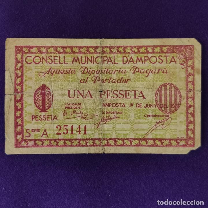 BILLETE LOCAL ORIGINAL DE EPOCA. AMPOSTA (TARRAGONA). 1 PESETA. JUNIO 1937. 2ªEDICION. GUERRA CIVIL (Numismática - Notafilia - Billetes Locales)