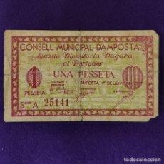 Billetes locales: BILLETE LOCAL ORIGINAL DE EPOCA. AMPOSTA (TARRAGONA). 1 PESETA. JUNIO 1937. 2ªEDICION. GUERRA CIVIL. Lote 206457260