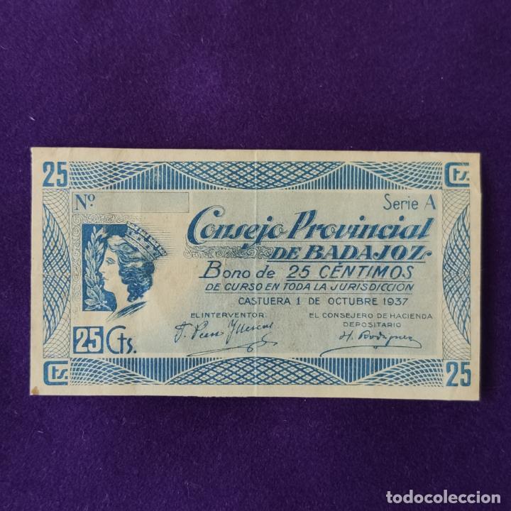 BILLETE LOCAL ORIGINAL DE EPOCA. BADAJOZ. 25 CENTIMOS. 1 OCTUBRE 1937. GUERRA CIVIL (Numismática - Notafilia - Billetes Locales)