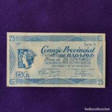 Billetes locales: BILLETE LOCAL ORIGINAL DE EPOCA. BADAJOZ. 25 CENTIMOS. 1 OCTUBRE 1937. GUERRA CIVIL. Lote 206458471
