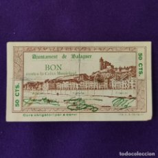Billetes locales: BILLETE LOCAL ORIGINAL DE EPOCA. BALAGUER (LERIDA). 50 CENTIMOS. 1937. GUERRA CIVIL. Lote 206458542