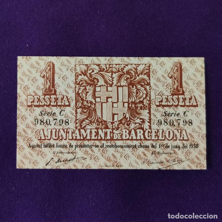 Billetes locales: BILLETE LOCAL ORIGINAL DE EPOCA. AYUNTAMIENTO DE BARCELONA. 1 PESETA. SERIE C. 1937. GUERRA CIVIL - Foto 2 - 206459148