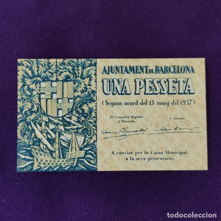 BILLETE LOCAL ORIGINAL DE EPOCA. AYUNTAMIENTO DE BARCELONA. 1 PESETA. SERIE C. 1937. GUERRA CIVIL (Numismática - Notafilia - Billetes Locales)