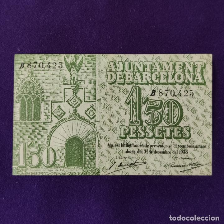 Billetes locales: BILLETE LOCAL ORIGINAL DE EPOCA. AYUNTAMIENTO DE BARCELONA. 1,50 PESETAS. SERIE B. 1937.GUERRA CIVIL - Foto 2 - 206459236