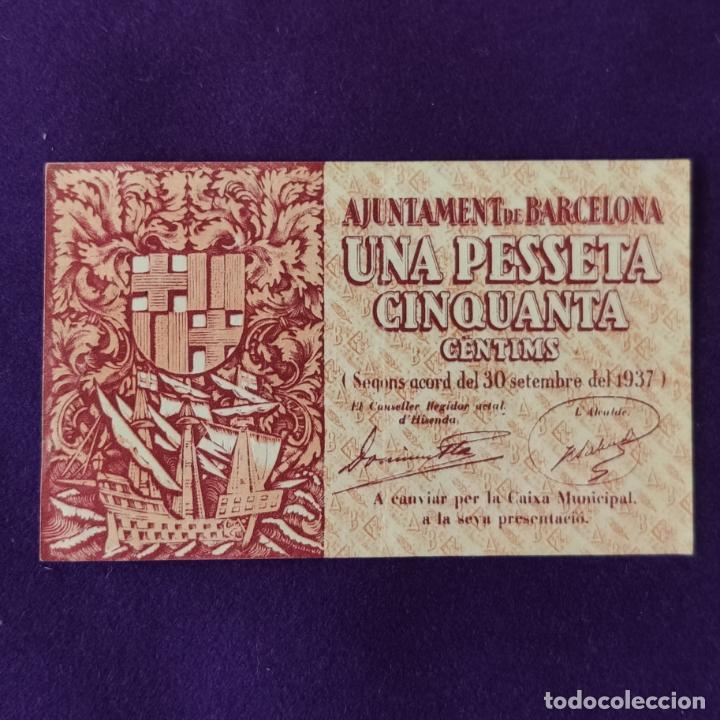 BILLETE LOCAL ORIGINAL DE EPOCA. AYUNTAMIENTO DE BARCELONA. 1,50 PESETAS. SERIE B. 1937.GUERRA CIVIL (Numismática - Notafilia - Billetes Locales)