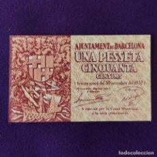 Billetes locales: BILLETE LOCAL ORIGINAL DE EPOCA. AYUNTAMIENTO DE BARCELONA. 1,50 PESETAS. SERIE B. 1937.GUERRA CIVIL. Lote 206459236