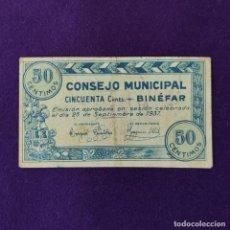 Billetes locales: BILLETE LOCAL ORIGINAL DE EPOCA. BINEFAR (HUESCA). 50 CENTIMOS. 1937. GUERRA CIVIL.. Lote 206460991