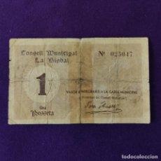 Billetes locales: BILLETE LOCAL ORIGINAL DE EPOCA. LA BISBAL (GERONA). 1 PESETA. 1ª EMISION. GUERRA CIVIL.. Lote 206461190