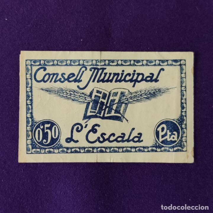 Billetes locales: BILLETE LOCAL ORIGINAL DE EPOCA. ESCALA (GERONA). 0,50 PESETAS. GUERRA CIVIL. - Foto 2 - 206549850