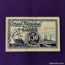 Billetes locales: BILLETE LOCAL ORIGINAL DE EPOCA. ESCALA (GERONA). 0,50 PESETAS. GUERRA CIVIL.. Lote 206549850