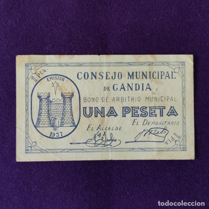 BILLETE LOCAL ORIGINAL DE EPOCA. GANDIA (VALENCIA). 1 PESETA. 1937. GUERRA CIVIL. (Numismática - Notafilia - Billetes Locales)