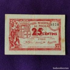 Billetes locales: BILLETE LOCAL ORIGINAL DE EPOCA. MOIA (BARCELONA). 25 CENTIMOS. CON NUMERACION. GUERRA CIVIL.. Lote 206552153