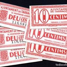 Billetes locales: TARRAGONA - 10 CENTIMOS GUERRA CIVIL 1937 - 6 BILLETES PLANCHA - NUMERACION CORRELATIVA. Lote 207022207