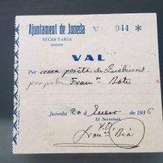 Billetes locales: AJUNTAMENT DE JUNEDA.VAL PER UNA PESSETA EN QUEVIURES .1936. Lote 207194742