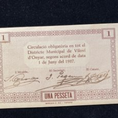 Billetes locales: VILOBI D'ONYAR 1 PESETA PLANCHA. Lote 207242435