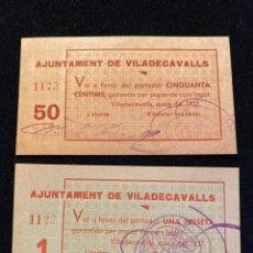 Billetes locales: AJUNTAMENT DE VILADECAVALLS 1/50 CTS PLANCHA. Lote 207243628