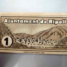 Billetes locales: ANTIGUO BILLETE LOCAL 1 PESETA RIPOLL ( GIRONA) SELLO EN SECO SIN CIRCULAR SIN SERIE SERIE. Lote 207272752