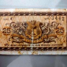 Billetes locales: ANTIGUO BILLETE LOCAL 0,25 PESETAS TAMARITE ( HUESCA). Lote 207281982
