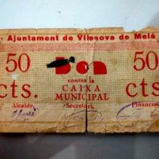 Billetes locales: ANTIGUO BILLETE LOCAL 50 CENTIMOS VILANOVA DE MEIA (LLEIDA) MUY DIFICIL. Lote 207291010