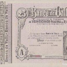 Billetes locales: BILLETES LOCALES - BANCO DE VALLS - TARRAGONA - 25 PESETAS (SC-). Lote 207778946
