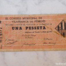Billetes locales: BILLETE LOCAL 1 PESSETA VILAFRANCA DEL PENEDES. Lote 207976160