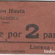 Billetes locales: ESPAÑA - SPAIN VALE POR 2 PANES LLERENA (BADAJOZ). Lote 208318648