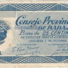 Billetes locales: ESPAÑA - SPAIN 25 CÉNTIMOS BADAJOZ 1-10-1937 SELLO NULO SOLO PARA COLECCIONISTAS. Lote 208320450