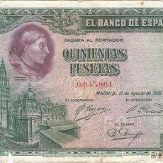 Billetes locales: ESPAÑA - SPAIN 500 PESETAS 15-8-1928 PK 77 A SIN SERIE. Lote 208700735