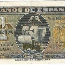 Billetes locales: ESPAÑA - SPAIN 1 PESETA 4-9-1940 PK 122 A.2. Lote 208941065