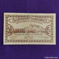 Billetes locales: BILLETE LOCAL ORIGINAL DE EPOCA. AYUNTAMIENTO DE ALICANTE. 50 CENTIMOS. 1937. GUERRA CIVIL.. Lote 209024130