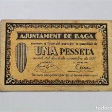 Billetes locales: F 1842 BILLETE 1 PESETA DEL AYUNTAMIENTO DE BAGA T-325. Lote 209343818