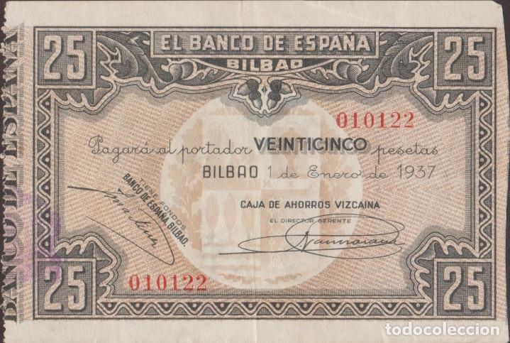 BILLETES LOCALES - BILBAO - 25 PESETAS 1937 - SIN SERIE - (MBC) (Numismática - Notafilia - Billetes Locales)