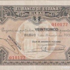 Billetes locales: BILLETES LOCALES - BILBAO - 25 PESETAS 1937 - SIN SERIE - (MBC). Lote 209371511