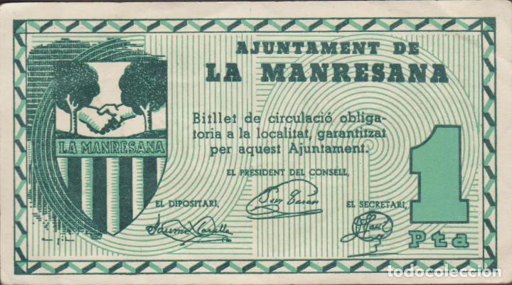BILLETES LOCALES - LA MANRESANA - LLEIDA - 1 PTA. S/F - T-1626B ( EBC ) (Numismática - Notafilia - Billetes Locales)
