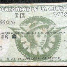 Billetes locales: BILLETE 1 UNA PESSETA - AJUNTAMENT DE LA CIUTAT DE VIC - JUNY 1937. Lote 210045441