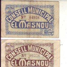 Billetes locales: CONSELL MUNICIPAL EL MASNOU - 3 VALORES. Lote 210260170