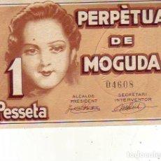 Billetes locales: AJUNTAMENT PERPETUA DE MOGUDA - 1 PESSETA. Lote 210260733