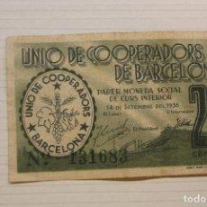 Notas locais: UNIÓ DE COOPERADORS DE BARCELONA, 25 CÈNTIMS, 1936. Lote 210341627