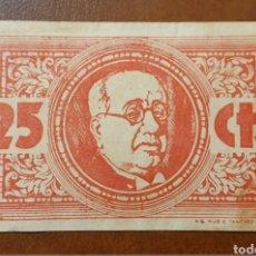 Billetes locales: EXELENTE BILLETE LOCAL 25 CENTESIMO CONSEJO MUNICIPAL LOS NAVAL MORALES TOLEDO S/S EBC+. Lote 210389911