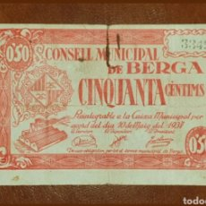 Billetes locales: EXELENTE BILLETE LOCAL 0,50 PESSETA CONSELL MUNICIPAL DE BERGA S/S AÑO 1937. Lote 210390398