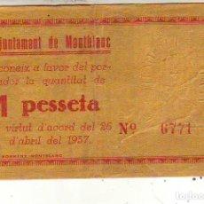 Billetes locales: AYUNTAMENT DE MONTBLANC. Lote 210712751